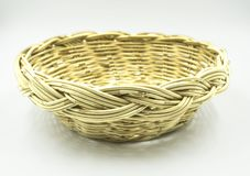 Wicker baskets on white background of file with Clipping Path Royalty Free Stock Images