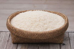 Wicker baskets white rice Royalty Free Stock Photography