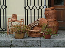 Wicker basktes. Wicker baskets in the store Royalty Free Stock Image