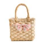 Wicker beach bag Stock Photo