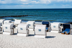 Wicker beach chair at the Baltic Sea Stock Photo