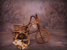 Wicker Bicycle with Flowers. Wicker Bicycle, good for photography prop. Set image of child inside basket royalty free stock photos