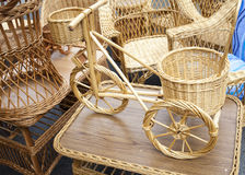 Wicker bicycle and furniture Royalty Free Stock Photo