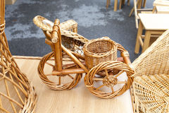 Wicker bicycle and furniture Stock Photo