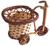 Wicker bicycle. Wicker bicycle on white background Royalty Free Stock Photos