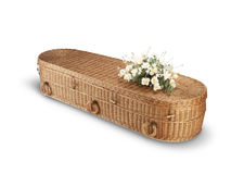 Wicker bio-degradable eco coffin isolated path Royalty Free Stock Photo