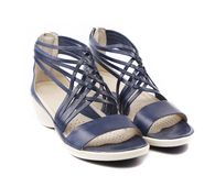 Wicker black leather sandals. Stock Image
