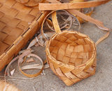 Wicker bowl, made of birch bark Stock Photos