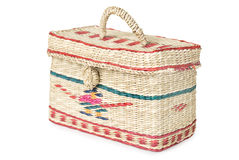 Wicker box with ornaments Royalty Free Stock Image