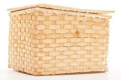 Wicker box  on white Royalty Free Stock Images