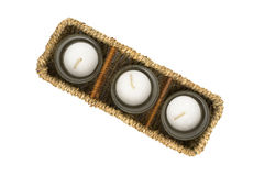Wicker Box With Candles Stock Image