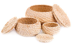 Wicker boxes Stock Photo