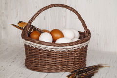 Wicker brown basket with eggs and feathers in cozy background Stock Image