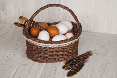 Wicker brown basket with eggs and feathers in cozy background Royalty Free Stock Images