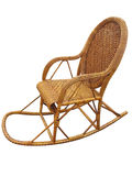 Wicker brown rocking chair isolated on white Royalty Free Stock Images