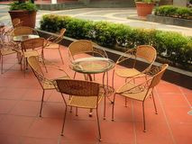 Wicker cafe. Cafe with traditional wicker chairs Royalty Free Stock Images