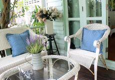 Wicker or Cane chairs. Rattan chair set in outdoor living garden Royalty Free Stock Photos