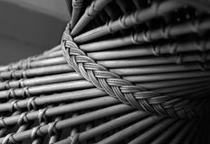 Wicker chair details. Part of wicker chair with braid element Stock Photography