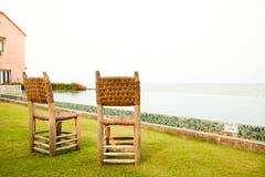 Wicker Chair in terrace Stock Photo