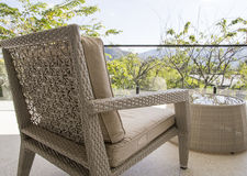Wicker Chair With View At Terrace Stock Photos