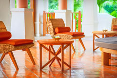 Wicker chairs and table Stock Photography