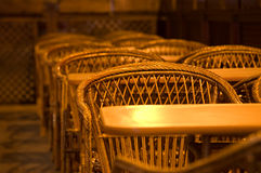 Wicker chairs and tables Royalty Free Stock Image