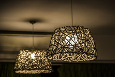 Wicker chandelier made of wood Royalty Free Stock Photography