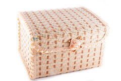 Wicker chest isolated. On white background Royalty Free Stock Photos