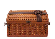 Wicker chest with ribbon Royalty Free Stock Photos