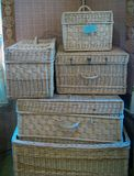 Wicker chests of different sizes. Kaluga, Russia - July 12, 2014: Wicker chests of different sizes stock photos