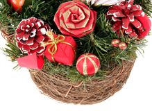 Wicker with Christmas Decoration Royalty Free Stock Images