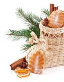 Wicker Christmas stocking filled with cookies Royalty Free Stock Photos