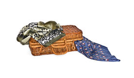Wicker coffer and two kerchiefs Stock Photo