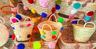 Wicker colored basket straw. Morocco royalty free stock photo