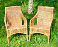 Wicker comfortable chair Royalty Free Stock Photo