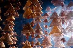 Chinese cave. Wicker cones suspended from the roof of a cave in China Royalty Free Stock Photography