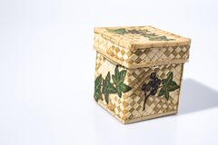 Wicker container hand decorated with decoupage technique stock photography