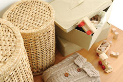 Wicker containers for home Stock Photos