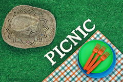 Wicker Cowboy Female Hat And Picnic Sign On The Grass Stock Photo