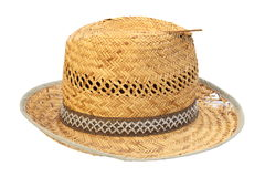 Wicker damaged old hat Royalty Free Stock Image
