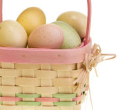 WIcker Easter basket with eggs Royalty Free Stock Images