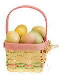 WIcker Easter basket with eggs Stock Photo
