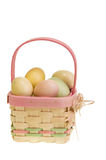 WIcker Easter basket with eggs Royalty Free Stock Image