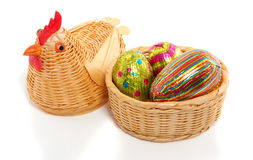 A wicker easter chicken Royalty Free Stock Photos