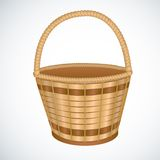 Wicker empty basket isoaleted vector Royalty Free Stock Images