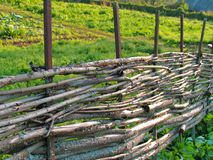 Wicker fence of curved wooden twigs Royalty Free Stock Photos