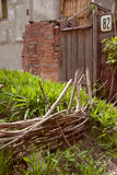 Wicker fence for plants Stock Photo