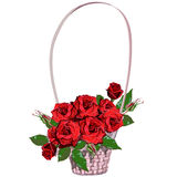 Wicker floral basket with red roses Royalty Free Stock Image