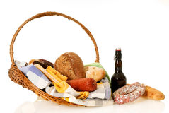 Wicker Food basket Stock Photography