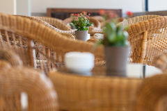 Wicker furniture in cafe. Wicker furniture in the cafe. Interior Royalty Free Stock Photography
